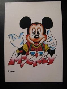 Vintage Old Postcard Walt Disney Doule card: Mickey Mouse...80's