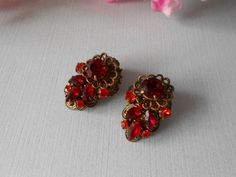 Ruby Red Earrings With Filigree Elegant Red by LittleBitsofGlamour, $27.00