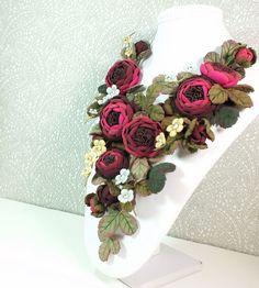 Купить Этюд с Ранункулюсами. Колье из натуральной кожи - комбинированный, колье, ожерелье, цветочный, кожа, натуральный