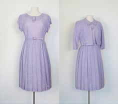 1950s Heathered Thistle Dress and Jacket
