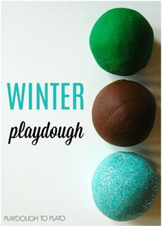 Yum!! Winter playdough recipes. Pine, mint and hot chocolate playdough recipes.