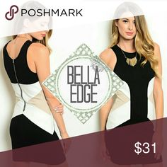 Black white nude colorblock dress 💎67.5% RAYON, 28.5% NYLON, 4% SPANDEX 💎This dress is sure to stun! In fabulous neutral colors with fashionable colorblock style, it's sure to compliment any skin tone. This high neckline dress features white and nude panels at waistline over thick black fabric. Silver hardware. Perfect for work with a blazer, weddings, etc.  💎Sizes small to large Bella Edge Boutique Dresses