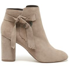 Sole Society Zella Block Heel Bootie ($110) ❤ liked on Polyvore featuring shoes, boots, ankle booties, taupe, block heel booties, suede bootie, taupe suede boots, taupe suede booties and taupe ankle boots