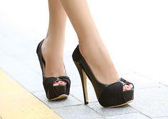 stiletto heel, platforms, peep toe from HeelsFetishism Zapatos Peep Toe, Peep Toe Shoes, Shoes Heels, Elegant Style Women, Beautiful High Heels, Black High Heels, Stiletto Heels, Stilettos, Boots