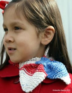 Knitworthy's Child Neckie in Americana for your All-American girl!
