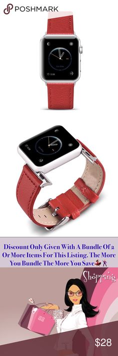 Premium Leather Apple Watch Band Brick Red Beautiful Leather Apple Watch Band In A Gorgeous Brick Red Color •Fits Series 1,2 & 3  •38mm •Premium Cowhide Leather  •Pin Buckle Design •Brand New In Sealed Package •Same Or Next Business Day Shipping Accessories