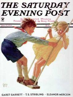 Children on Swing, Eugene Iverd, The Saturday Evening Post