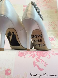 Vintage Romance presents...    Beautiful Disney Wedding Day Shoe decals, the perfect finishing touch to your shoes!  Disney themed for the