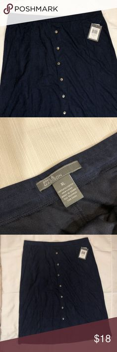 """89th & Madison Size XL Navy Button Suede Skirt NWT This listing is for one womens 89th & Madison by Nordstrom's navy blue retro 70s inspired snap button front suede soft below knee a line skirt. Perfect wear to work office business casual wear. Style # 369D050 Original MSRP Was 58.00 Womens Size XL  Waist Measurements Laying Flat : 36"""" Waist To Hem Length Measurement: 30"""" 89th & Madison Skirts Midi"""