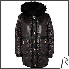 #RihannaforRiverIsland Black Rihanna high shine parka jacket. #RIHpintowin click here for more details >  http://www.pinterest.com/pin/115334440431063974/