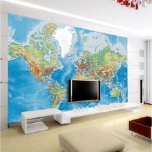 Free shipping customized non-woven tv background world map wall murals, wallpaper(China (Mainland))