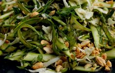 Shaved asparagus salad with sesame chili lime dressing.