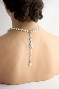 Wedding Necklace Backdrop Necklace Wedding Jewelry by LuluSplendor