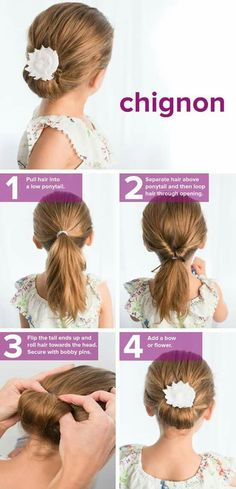fast, easy, cute hairstyles for girls This chignon tutorial is so easy. Try this hairstyle idea for school.This chignon tutorial is so easy. Try this hairstyle idea for school. Hairstyles For School, Trendy Hairstyles, Wedding Hairstyles, Wedding Updo, Short Haircuts, Hairstyles For Children, Updos For Kids, Hair For Kids, Toddler Girls Hairstyles