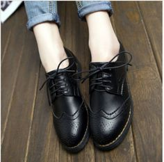 Retro-para-mujer-Lace-Up-Punta-Redonda-Baja-Grueso-Tacones-Oxfords-Zapatos-zapato-bajo-de-cuero