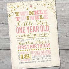57 Invitation Personalized and Customizable Twinkle Twinkle
