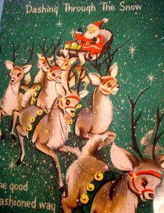 Vintage Santa & his Reindeer Crew Christmas Card Images Vintage, Vintage Christmas Images, Old Fashioned Christmas, Christmas Deer, Retro Christmas, Vintage Holiday, Christmas Pictures, Christmas Greetings, Winter Christmas