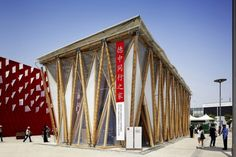 """Alfred Rein Ingenieure, Deutsche-Chinesisches Haus Expo 2010 - The China-Germany House exhibition brings to a successful conclusion the series of events, initiated in 2007 and based on the theme """"Germany and China – Advancing together"""". This original building combines bamboo structural frames and Serge Ferrari Précontraint 902 S2 membrane covering the roof and triangular walls."""