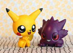 CUSTOM ORDER for Kourtney: Pikachu & Gengar Pokemon Littlest Pet Shop customs