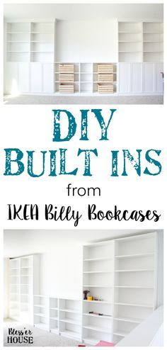 DIY Built Ins from IKEA Billy Bookcases. A step-by-step tutorial for how to make professional looking built in bookshelves using IKEA Billy bookcases for vertical storage. Ikea Bookcase, Bookshelves Built In, Billy Bookcases, Diy Built In Shelves, Book Shelves, Bookcase White, Built In Shelves Living Room, Basement Built Ins, Bedroom Built Ins