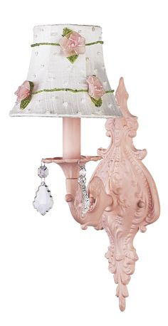 White with Pink Net Flower Shade on 1-Arm Scroll Pink Wall Sconce