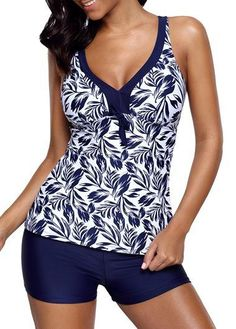 Leaf Print V Neck Navy Tankini Set | liligal.com - USD $33.83   #liligal #swimwear #swimsuit