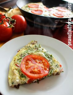Tomato, Basil and Spinach Egg White Frittata with turkey sausage.  Really easy breakfast to meal prep for the week!  Servings: 5 • Calories: 131 • Fat: 5 g • Protein: 17 g • Carbs: 6 g • Fiber: 1 g • Sugar: 1 g