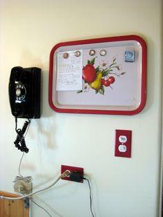 vintage tray as memo board.
