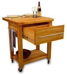 Baby Grand Butcher Block Kitchen Island Cart with Drop Leaf-Baby Grand Butcher Block Kitchen Island Cart with Drop Leaf Features a 2 in. thick butcher block top with a bull nose edge and rounded corners. This offspring of the Grand work center featur