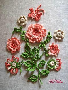 Crochet applique of 11 elements . Irish lace. Knitted от Tanita777