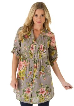 English Floral Bigshirt | Plus Size Casual Parties | Roamans