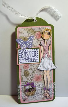 Prima Doll Tag Easter Wishes Handmade Paper Tag by Smiles4Paper, $6.00