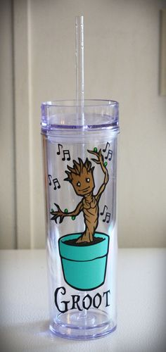 Custom 16oz Dancing Baby Groot Tumbler by ThePinkWalrus on Etsy, $13.00