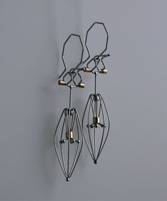 Earrings | Designer unknown.  Sterling silver with brass.