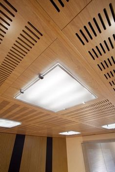 Acoustic suspended ceiling / in wood / tile / perforated - IDEALED - Ideatec