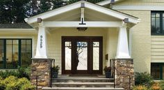 stone on a split level home   ... , AIA, transformed this home into an Arts and Crafts-style bungalow