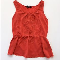 H&M top Red tank peplum top from H&M in size small. Lace detail and elastic at waistline. Excellent condition! H&M Tops