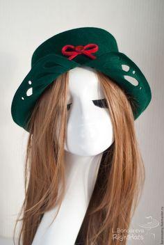 """Купить """"Тирольская песня"""" - тёмно-зелёный, зеленый, изумрудный, песни тирольского леса, шляпка"""
