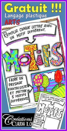 Document gratuit ! Arts plastiques au primaire. Il me fait plaisir de vous partager gratuitement ce document pour la révision de la notion des motifs en arts plastiques. Pour 1er, 2e et 3e cycle. Ce document fait partie d'un ensemble de 10 exercices sur le langage plastique des arts au primaire. Kids Art Class, Art For Kids, Lessons For Kids, Art Lessons, Art Montessori, Grade 1 Art, Ecole Art, Plastic Art, Document
