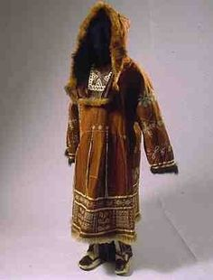 Koryak (Siberia, Russia), Woman's Coat, reindeer skin, c. 1950 Magnificent in every way. Tribal Costume, Folk Costume, Costumes, Historical Costume, Historical Clothing, Ethnic Fashion, Winter Wear, Traditional Dresses, Fur Coat