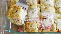 Monte Cristo Strata - Betty Crocker - This cheesy and indulgent strata is inspired by the flavors of a Monte Cristo sandwich: ham, tangy mustard and Gruyere cheese. What's For Breakfast, Breakfast Dishes, Breakfast Casserole, Breakfast Recipes, Reuben Casserole, Breakfast Potluck, Breakfast Strata, Overnight Breakfast, Sausage Casserole