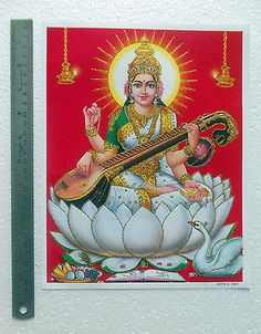 "Saraswati Maa - Hindu Goddess POSTER - Golden Effect Glossy Paper (9""x11"")"