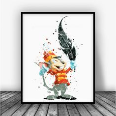 Dumbo Timothy Q. Mouse Watercolor Art Print Poster. Disney Print For Home Decoration, Nursery and Kids Room Decor.