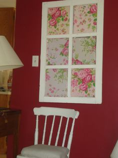 Vintage Window frame turned bulletin board with shabby chic roses.