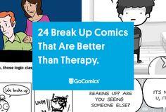 24 comics to help you get over your breakup. | Read more funny comics on GoComics.com. | #breakup #singlelife #humor #webcomic Breakup Humor, Sad Breakup, Relationship Comics, We Broke Up, Single Life, New Beginnings, Funny Comics, Grief, Divorce