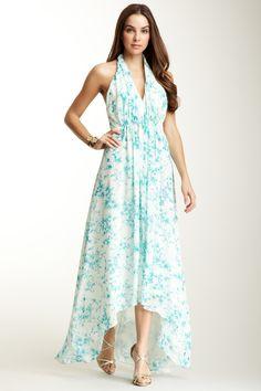 V-Neck Halter Print Hi-Lo Gown <3.  So refreshing looking