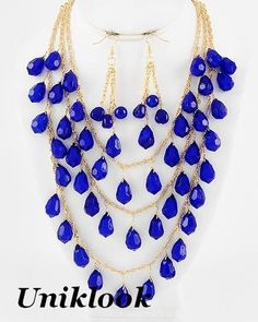 Royal Blue Acrylic Bead Gold Waterfall Bib Fashion Jewelry Necklace Earrings Set | eBay