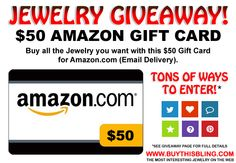 ► ► Enter to Win Jewelry Giveaway Contest $50 Amazon Gift Card!