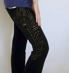 Peacock Yoga Pants Gold Feather