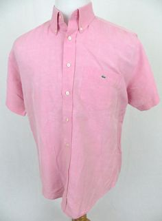 Lacoste Shirt Large Pink Button Front Linen Embroidered Crocodile Short Sleeve #Lacoste #ButtonFront
